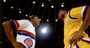 Magic Johnson and Isiah Thomas Lakers Pistons