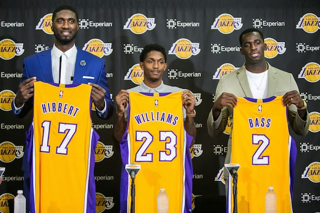 The Los Angeles Lakers introduce new players, from left, Roy Hibbert, Lou Williams and Brandon Bass, at the team's training facility in El Segundo, Calif., on Wednesday, July 22, 2015. (Marcus Yam/Los Angeles Times/TNS)