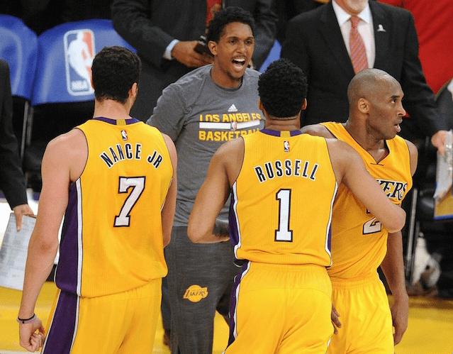 Kobe Bryant D'Angelo Russell Larry Nance Lakers