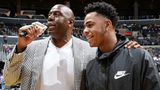 Magic Johnson D'Angelo Russell Lakers