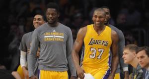 Metta World Peace Julius Randle Jordan Clarkson Lakers