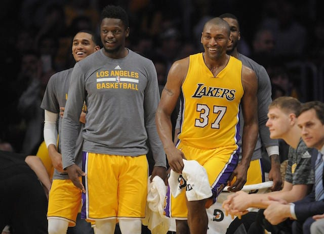 Metta World Peace Julius Randle Jordan Clarkson Lakers