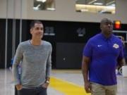 Lakers Training Camp - Rob Pelinka Magic Johnson