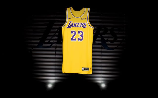 7c8025213 VIDEO  First In-Person Look At Lakers New Nike Jerseys